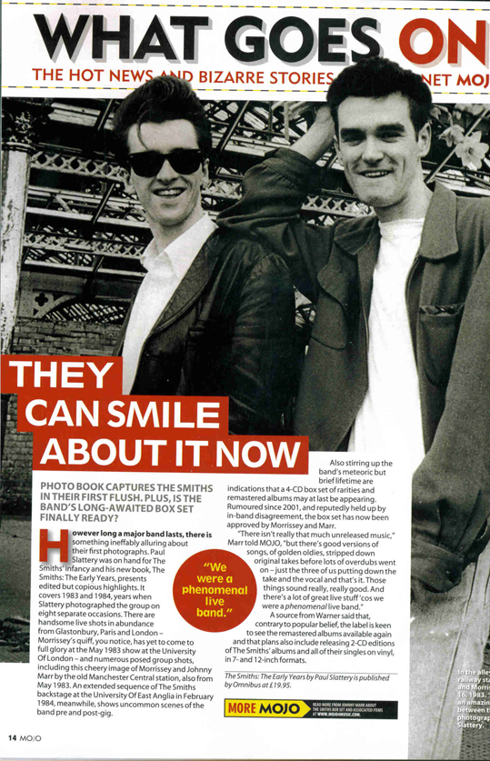 New Smiths book and boxset/reissue details from Mojo (Oct